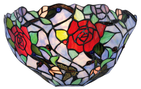 Flite Striking Rose Design Tiffany Wall Light