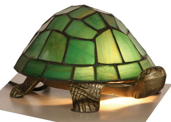 Green Leaded Light Tiffany Style Tortoise Table Lamp