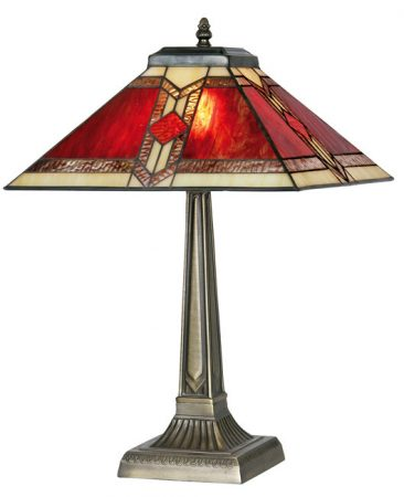 Aztec Red Flame Large Tiffany Table Lamp