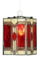 Aztec Red Flame Tiffany Glass Pendant Light Shade