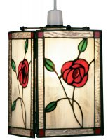 Rose Design Easy Fit Tiffany Pendant Lamp Shade