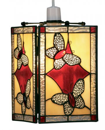 Red Butterfly Easy Fit Tiffany Pendant Lamp Shade