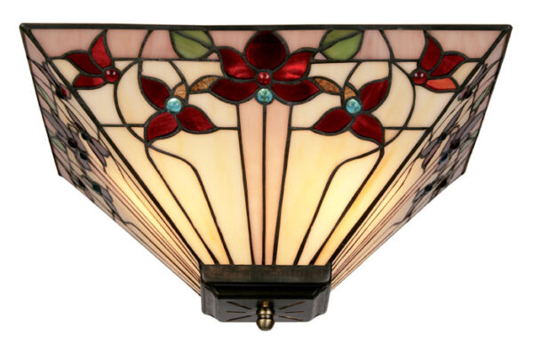 Camillo Jewelled Tiffany Rose Flush Ceiling Light