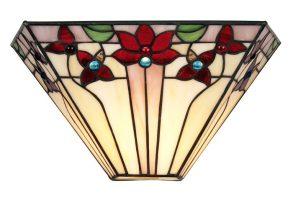 Camillo Angular Jewelled Tiffany Rose Wall Light