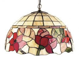 Border Medium Red Floral Tiffany Light Pendant