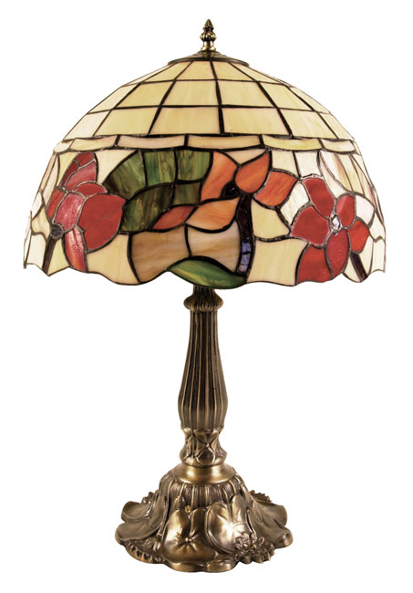 Border Large Red Floral Tiffany Table Lamp