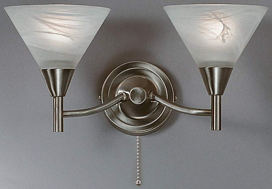 Traditional Switched Wall Lights : Harmony Satin Nickel Switched Twin Wall Light PE9832