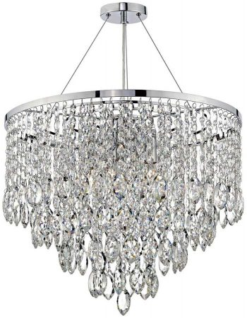 Dar Pescara Modern Crystal 5 Light Pendant Chrome
