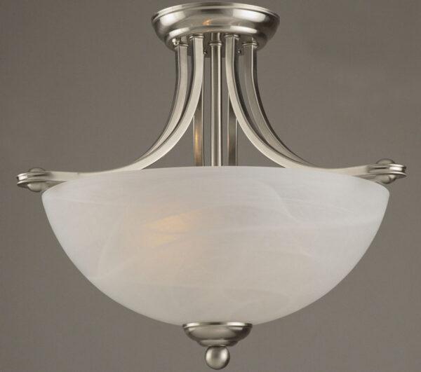 Texas Semi Flush 2 Lamp Art Deco Style Ceiling Light Satin Nickel