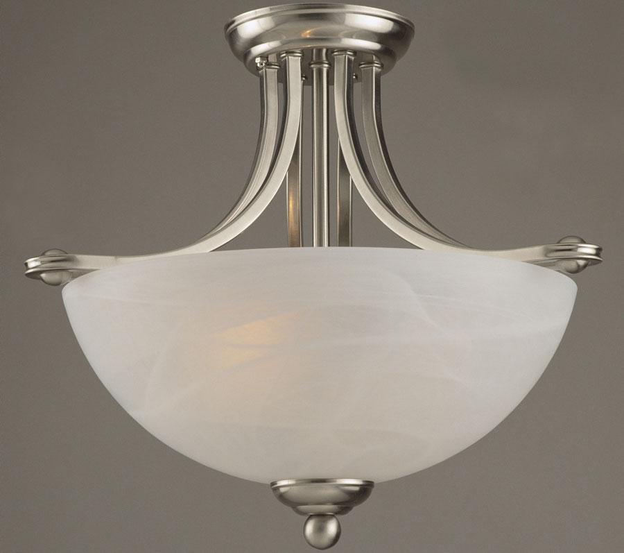 Texas semi flush 2 lamp art deco style ceiling light satin nickel mozeypictures Images