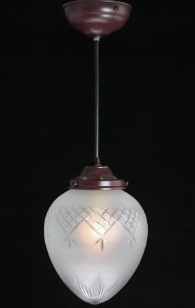 Small Etched Glass Pendant Light UK Handmade