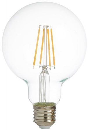 Pack Of 5 Dimmable 6w LED 95mm Globe Filament Lamps E27 600Lm
