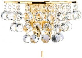 Dar Pluto Modern 2 Lamp Switched Crystal Wall Light Brass