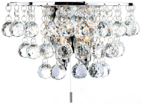 Dar Pluto Modern 2 Lamp Switched Crystal Wall Light Chrome
