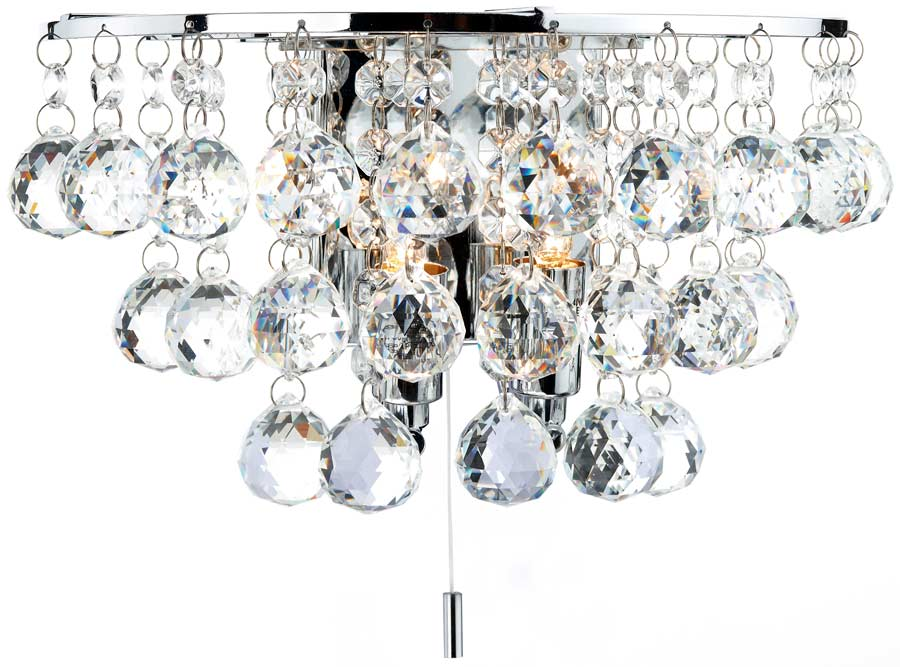 Crystal Wall Lights Switched : Dar Pluto Modern 2 Lamp Switched Crystal Wall Light Chrome PLU0950