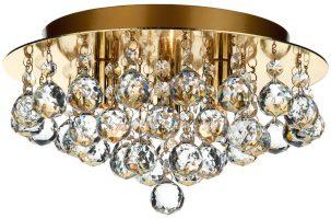 Dar Pluto Modern 3 Light Flush Hanging Crystal Fitting Brass