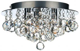 Dar Pluto Modern 3 Light Flush Hanging Crystal Fitting Chrome