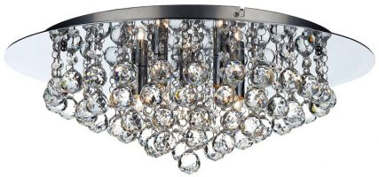 Dar Pluto 5 Light Flush Mount Crystal Ceiling Light Polished Chrome