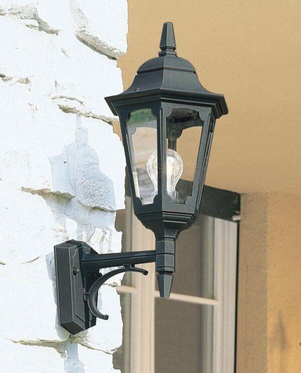 Elstead Parish 1 Light Upward Outdoor Wall Lantern Black