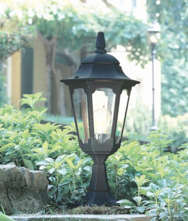 Elstead Parish 1 Light Outdoor Pedestal Lantern Black
