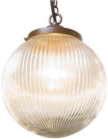 Antique Finish Prismatic Globe Pendant Vintage Style