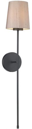 David Hunt Pigalle Single Wall Light Matt Black Silk Shade