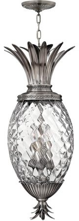 Hinkley Plantation 4 Light Pineapple Pendant Lantern Antique Nickel