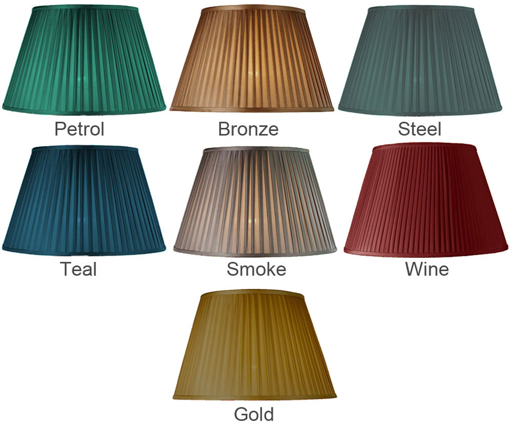 Pleated Empire lamp shade in petrol, bronze, steel, teal, smoke, wine or gold