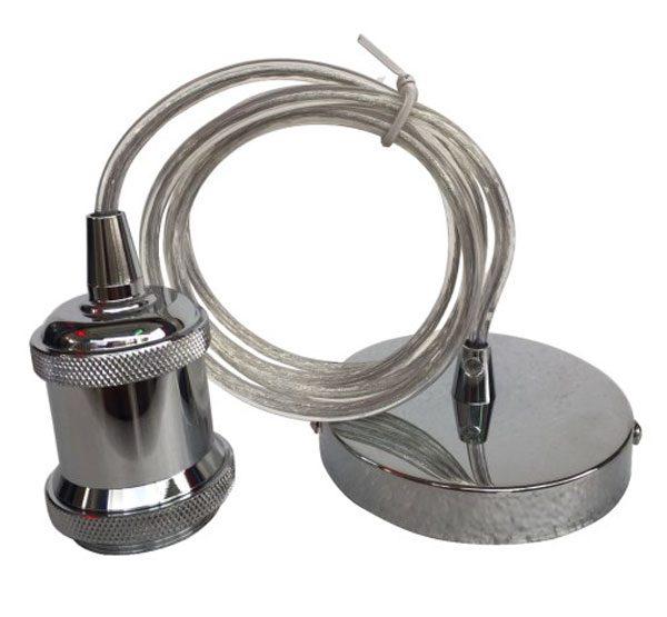 Polished Chrome Finish Ceiling Pendant Cable Set E27 Shade Ring