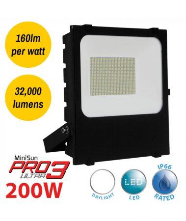 Pro3 Ultra 200w LED Daylight Security Floodlight Black IP66 32000 Lumen