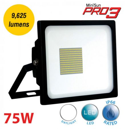 Pro3 75w LED Daylight White Security Floodlight Black IP66 9625 Lumen