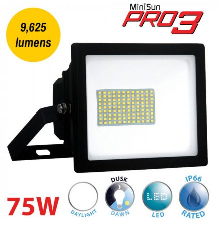 Pro3 75w LED Dusk Till Dawn Security Floodlight Black IP66 9625 Lumen