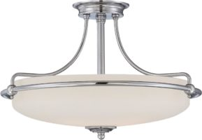 Quoizel Griffin Polished Chrome Art Deco Style 4 Light Semi Flush