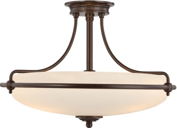Quoizel Griffin Palladian Bronze Art Deco Style 4 Light Semi Flush