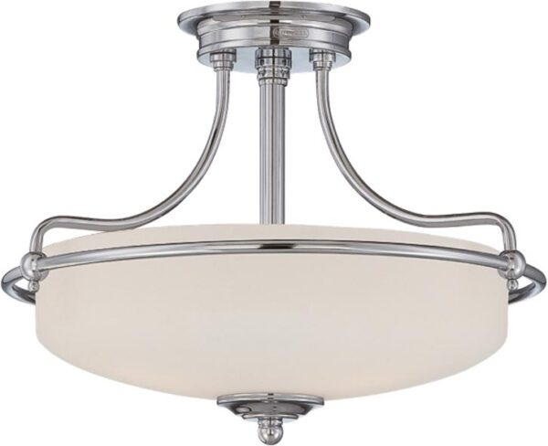 Quoizel Griffin Polished Chrome Art Deco Style 3 Light Semi Flush