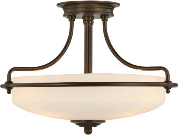 Quoizel Griffin Palladian Bronze Art Deco Style 3 Light Semi Flush