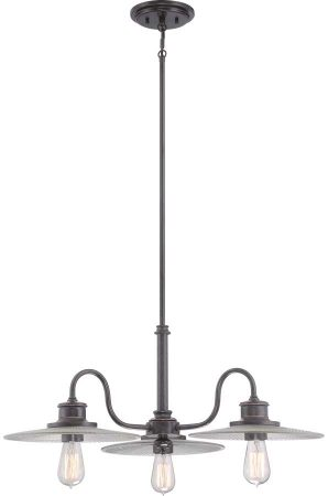 Quoizel Admiral Deco Style 3 Light Chandelier Imperial Bronze