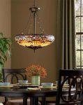 Quoizel Belle Fleur Traditional Floral 4 Light Inverted Tiffany Pendant