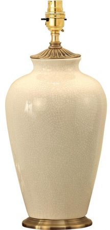 Ryhall Small Ivory Crackle Ceramic Vase Table Lamp Base