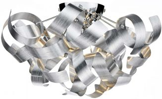 Dar Rawley Medium 4 Light Flush Ribbon Ceiling Light Brushed Aluminium