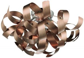 Dar Rawley Modern 4 Lamp Flush Light Copper Ribbon