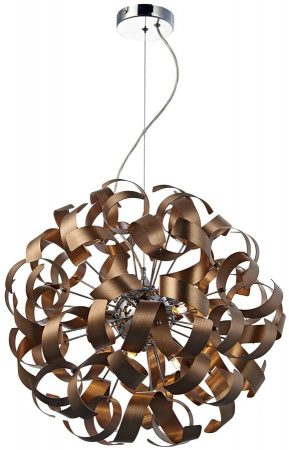 Dar Rawley Medium Modern 9 Light Copper Ribbon Pendant