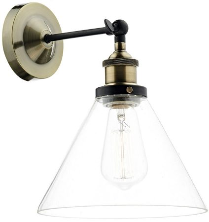 Dar Ray Glass Shade 1 Lamp Antique Brass Industrial Wall Light