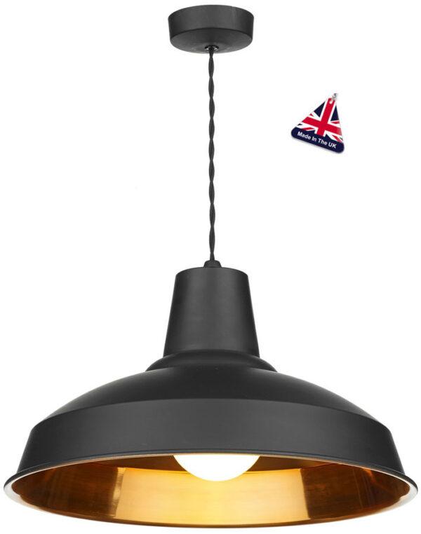 David Hunt Reclamation 1 Light Ceiling Pendant Black Copper Inner