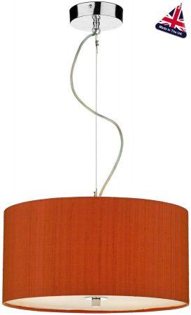 Dar Renoir 3 Light 40cm Silk Drum Pendant Various Colours