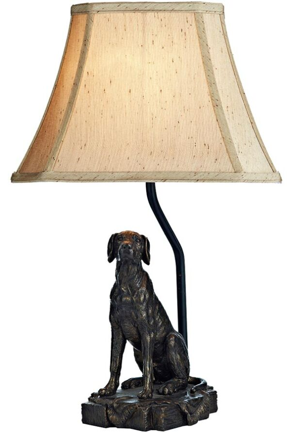 Dar Rover Dog Sculpture Table Lamp With Gold Shade