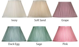Box Pleat Faux Silk 16 Inch Lamp Shade Choice 6 Colours