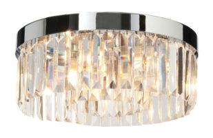 Circular Chrome And Crystal Bathroom Ceiling Light