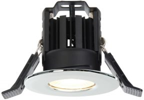 Shield IP65 Polished Chrome Fire Rated 8w Warm White LED Downlight