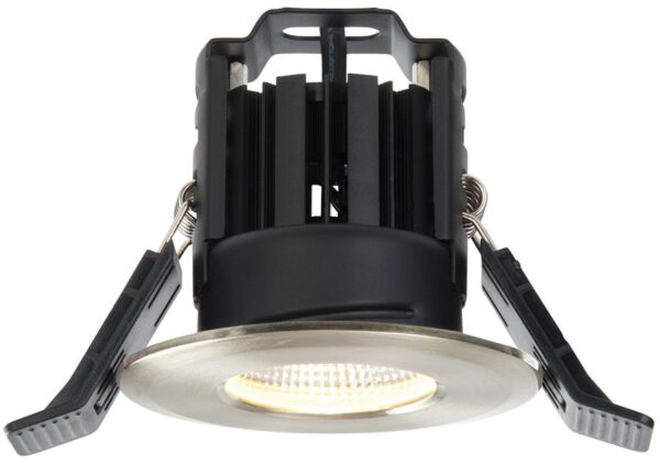 Shield IP65 Satin Nickel Fire Rated 8w Warm White LED Downlight